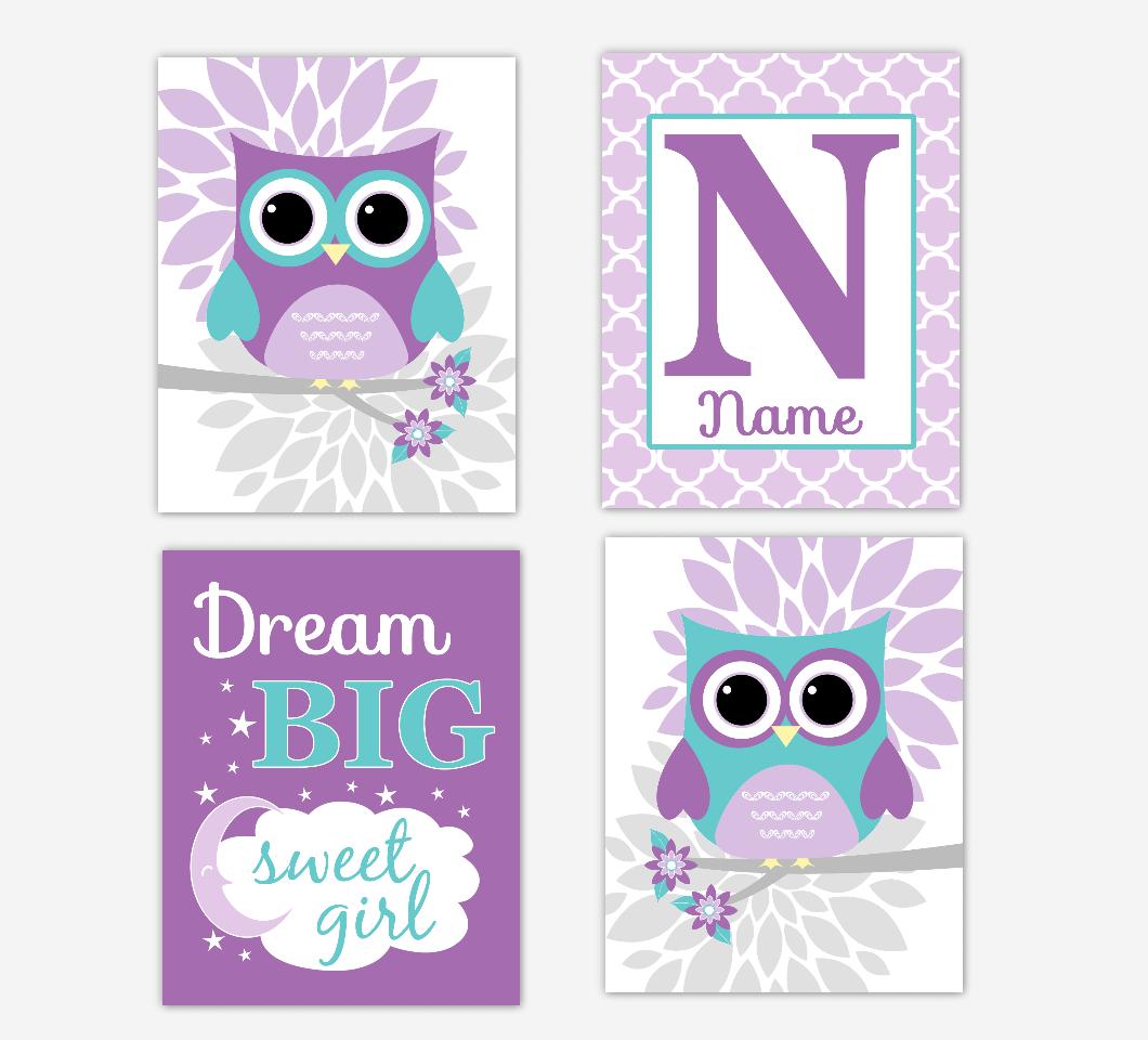 Purple Teal Baby Girl Nursery Art Owls Dahlia Mum Flowers Dream Big Personalized Print Baby Nursery Decor SET OF 4 UNFRAMED PRINTS