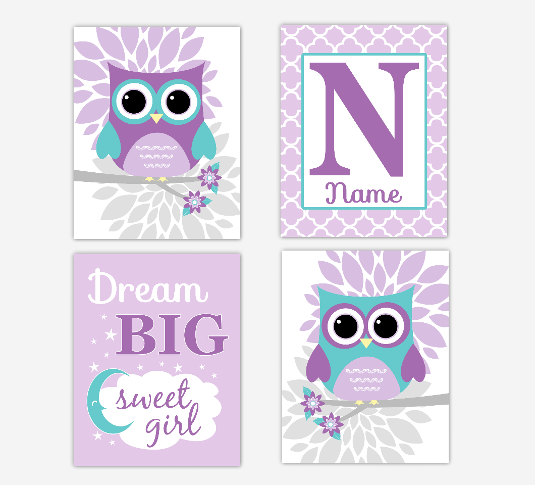 Purple Teal Baby Girl Nursery Art Owls Dahlia Mum Flowers Dream Big Personalized Print Baby Nursery Decor SET OF 4 UNFRAMED PRINTS