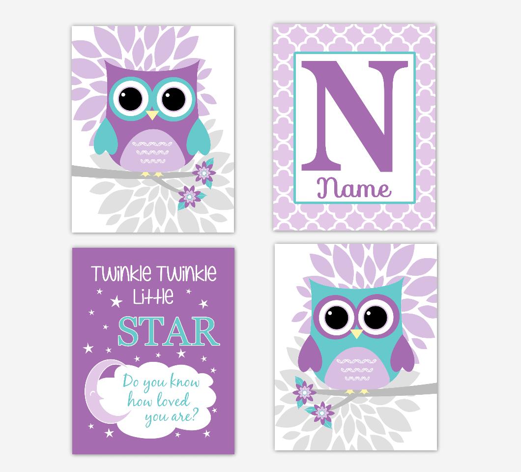 Purple Teal Baby Girl Nursery Art Owls Dahlia Mum Flowers Twinkle Little Star Personalized Print Baby Nursery Decor SET OF 4 UNFRAMED PRINTS