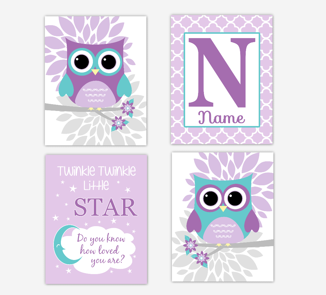 Purple Teal Baby Girl Nursery Art Owls Dahlia Mum Flowers Twinkle Little Star Personalized Print Baby Nursery Decor SET OF 4 UNFRAMED PRINTS