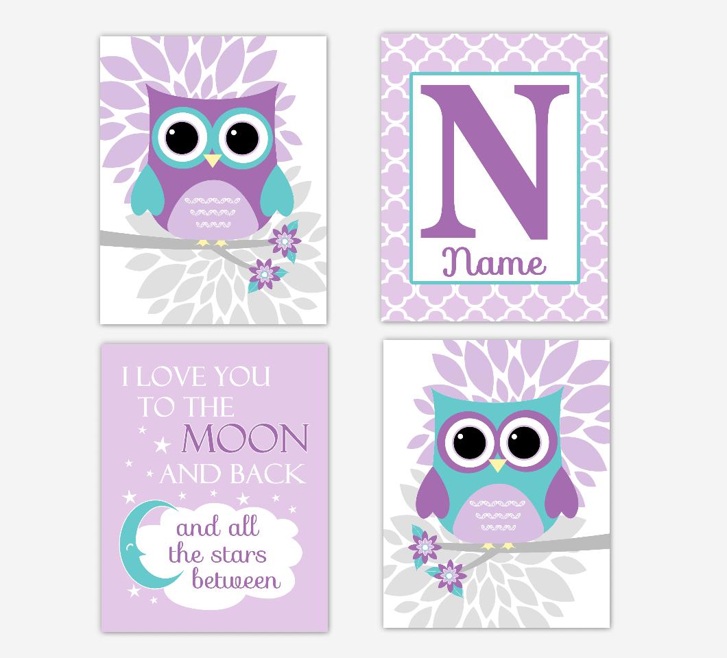 Purple Teal Baby Girl Nursery Art Owls Dahlia Mum Flowers I Love You To The Moon Personalized Print Baby Nursery Decor SET OF 4 UNFRAMED PRINTS