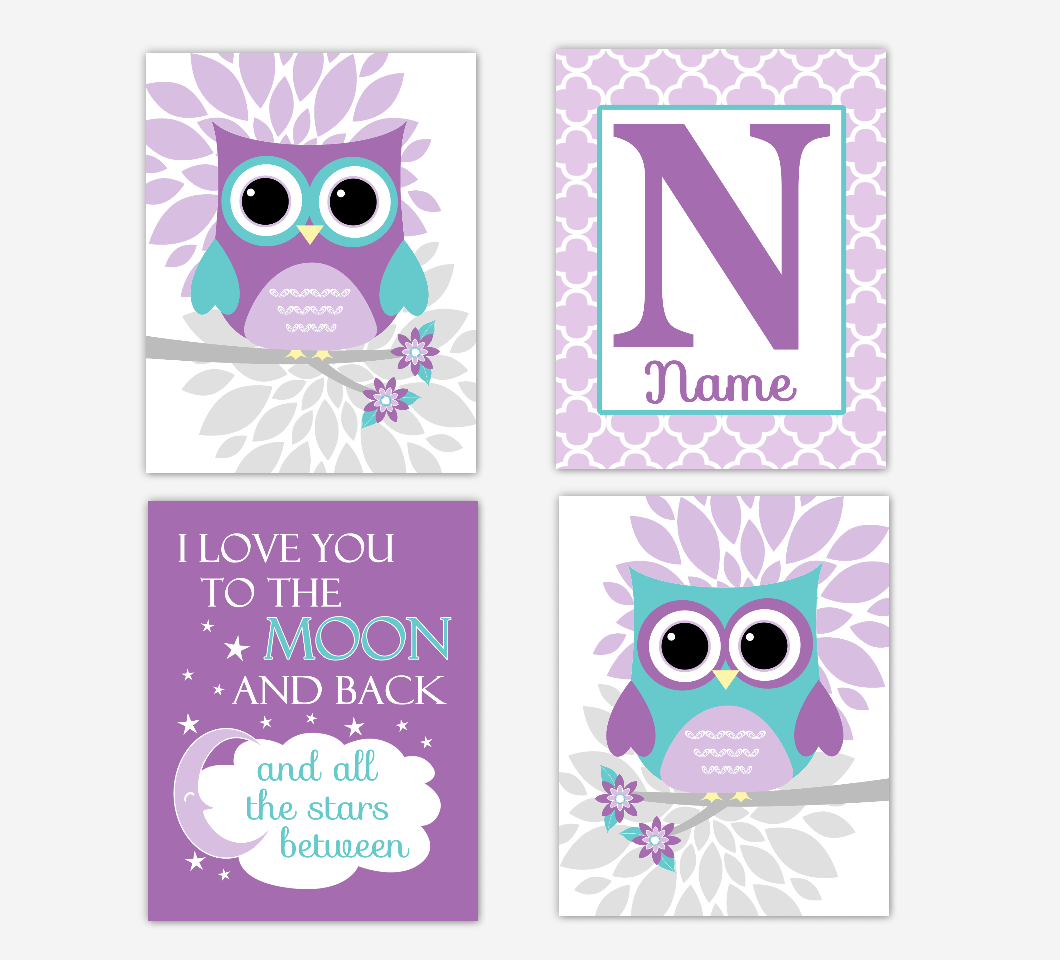 Purple Teal Baby Girl Nursery Art Owls Dahlia Mum Flowers I Love You To The Moon Personalized Print Baby Nursery Decor SET OF 4 UNFRAMED PRINTS