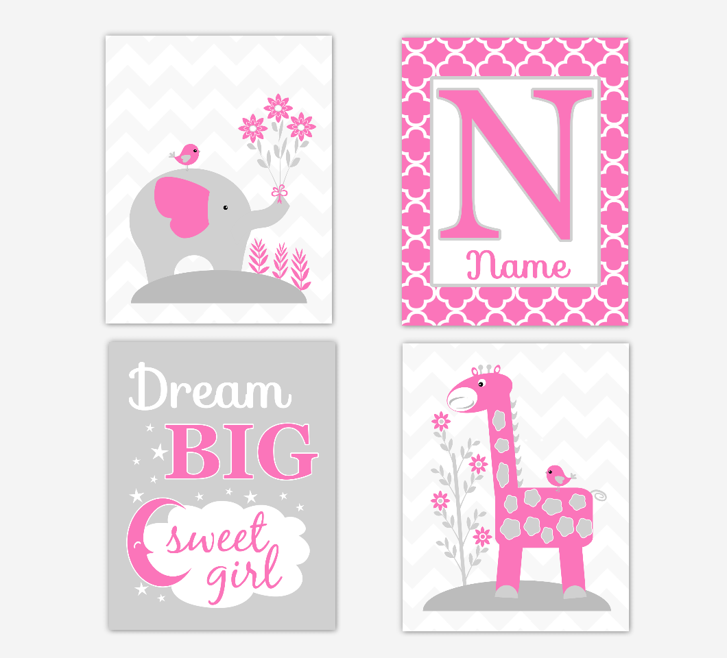 Pink Baby Girl Nursery Art Elephant Giraffe Safari Jungle Animals Dream Big Personalized Print Baby Nursery Decor SET OF 4 UNFRAMED PRINTS