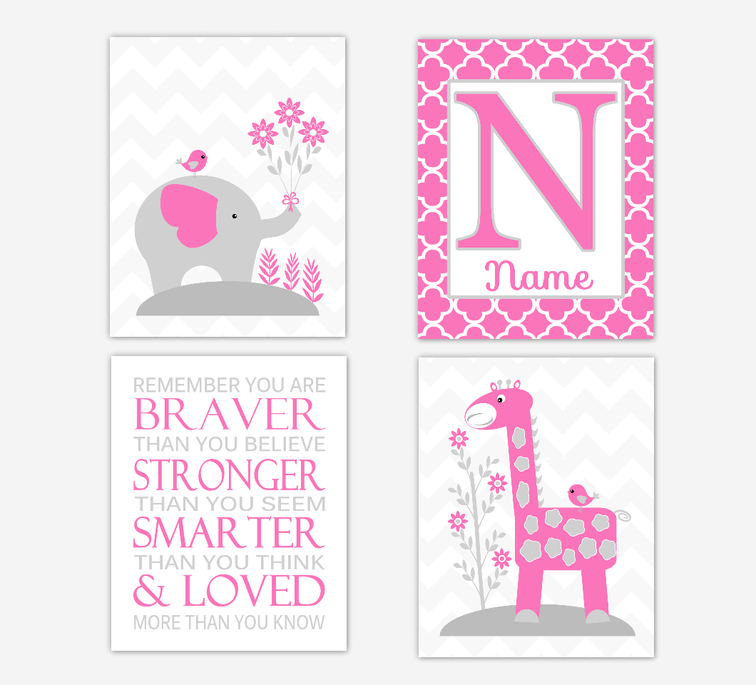 Pink Baby Girl Nursery Art Elephant Giraffe Safari Jungle Animals Remember You Are Braver Personalized Print Baby Nursery Decor  SET OF 4 UNFRAMED PRINTS