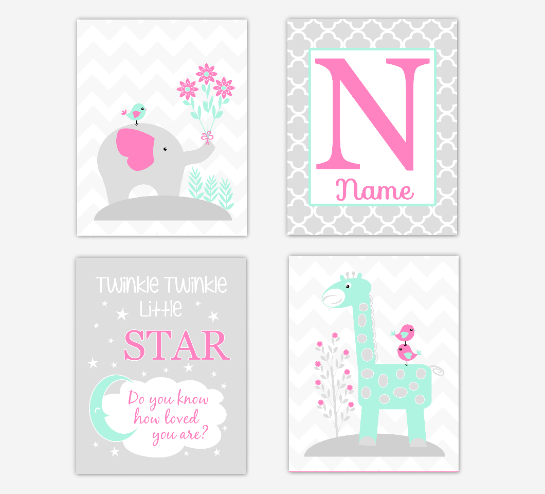 Pink Mint Green Baby Girl Nursery Art Elephant Giraffe Safari Jungle Animals Twinkle Little Star Personalized Name Print Baby Nursery Decor SET OF 4 UNFRAMED PRINTS
