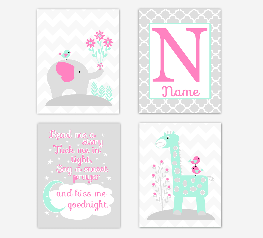 Pink Mint Green Baby Girl Nursery Art Elephant Giraffe Safari Jungle Animals Read Me A Story Personalized Name Print Baby Nursery Decor SET OF 4 UNFRAMED PRINTS