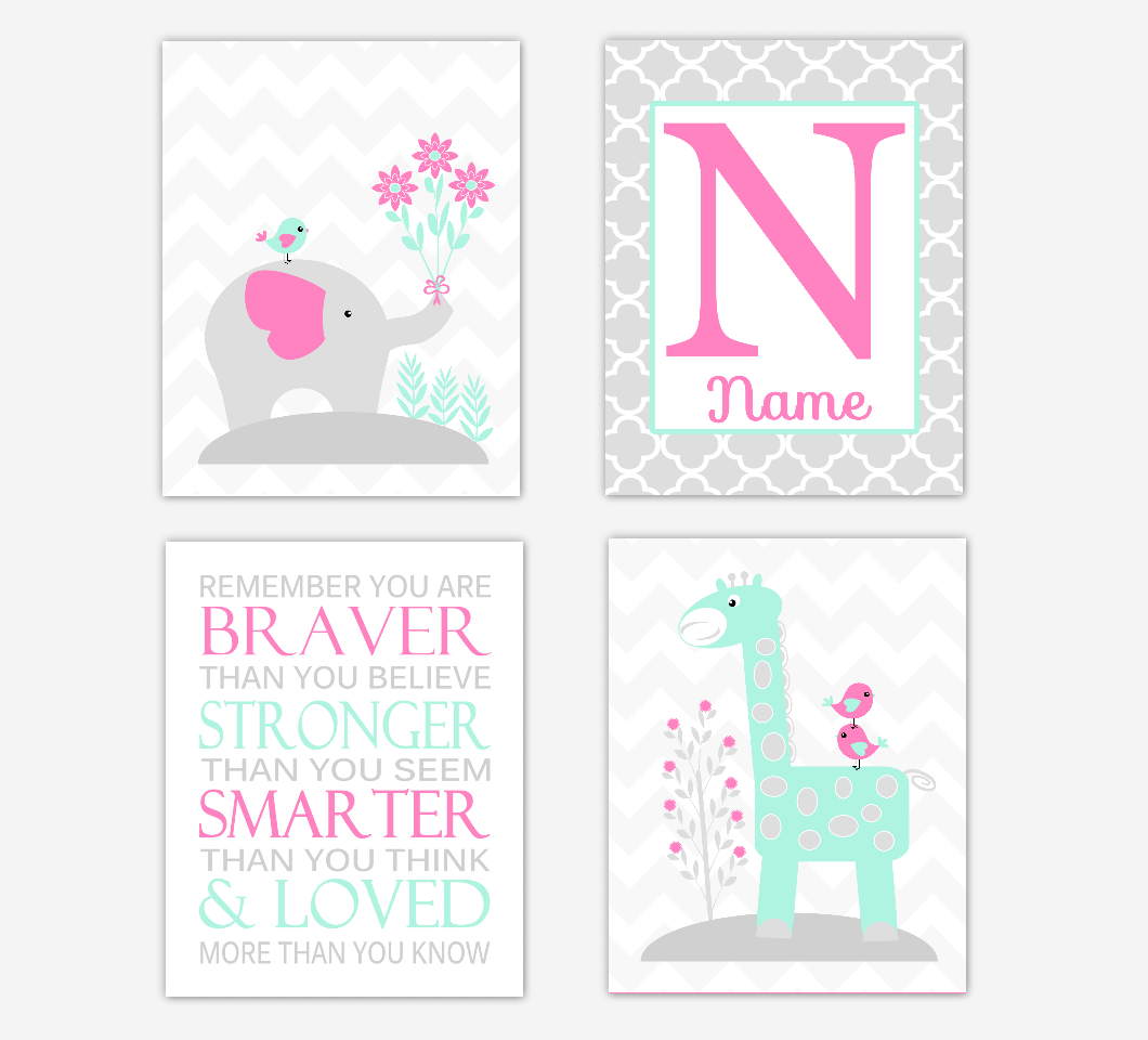 Pink Mint Green Baby Girl Nursery Art Elephant Giraffe Safari Jungle Animals Remember You Are Braver Personalized Name Print Baby Nursery Decor SET OF 4 UNFRAMED PRINTS