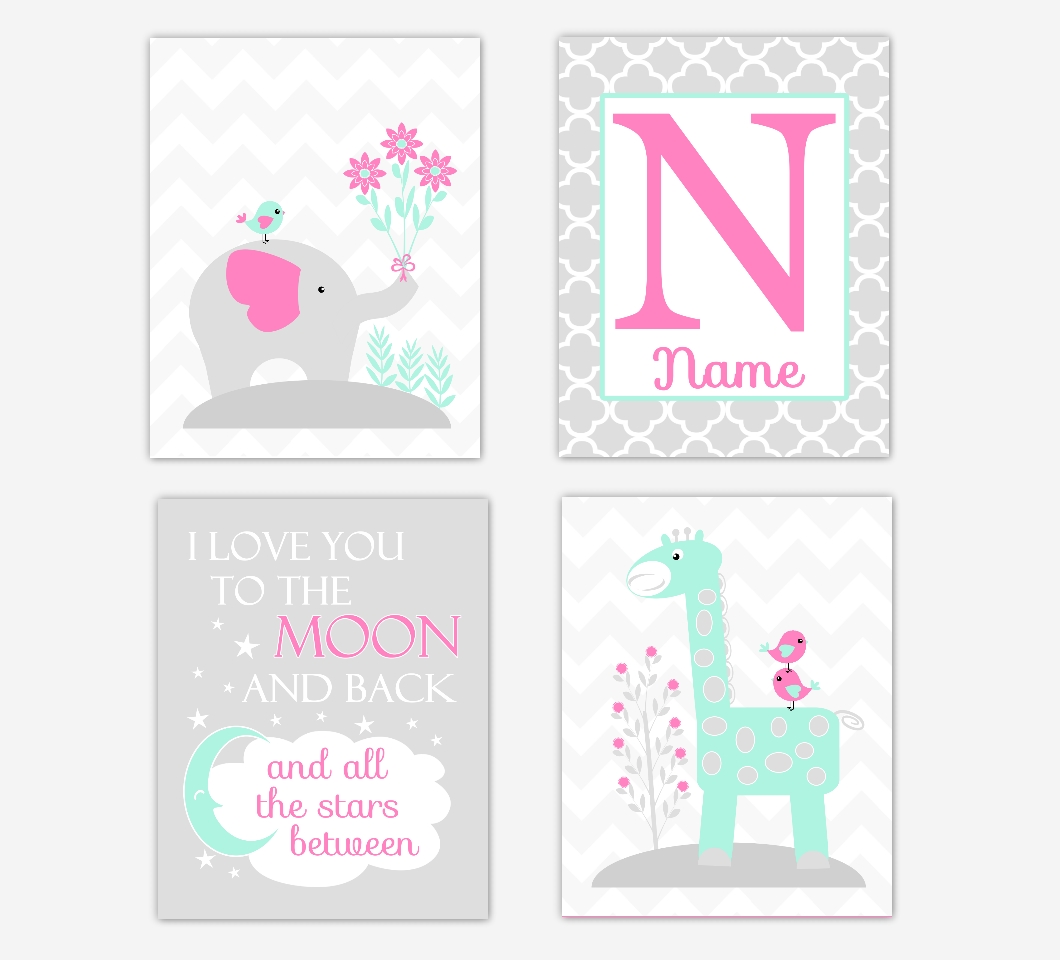 Pink Mint Green Baby Girl Nursery Art Elephant Giraffe Safari Jungle Animals I Love You To The Moon Personalized Name Print Baby Nursery Decor SET OF 4 UNFRAMED PRINTS