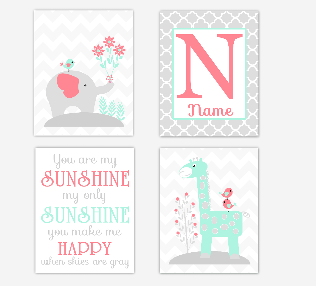 Coral Mint Green Baby Girl Nursery Art Elephant Giraffe Safari Jungle Animals You Are My Sunshine Personalized Name Print Baby Nursery Decor  SET OF 4 UNFRAMED PRINTS