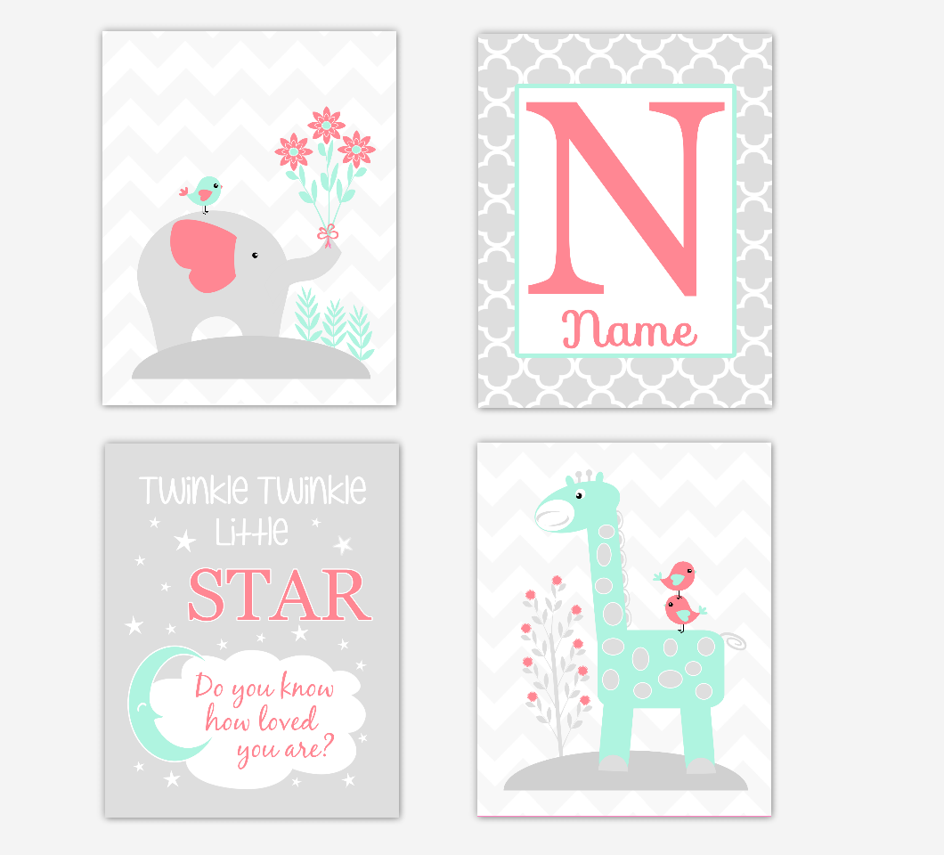Coral Mint Green Baby Girl Nursery Art Elephant Giraffe Safari Jungle Animals Twinkle Little Star Personalized Name Print Baby Nursery Decor SET OF 4 UNFRAMED PRINTS