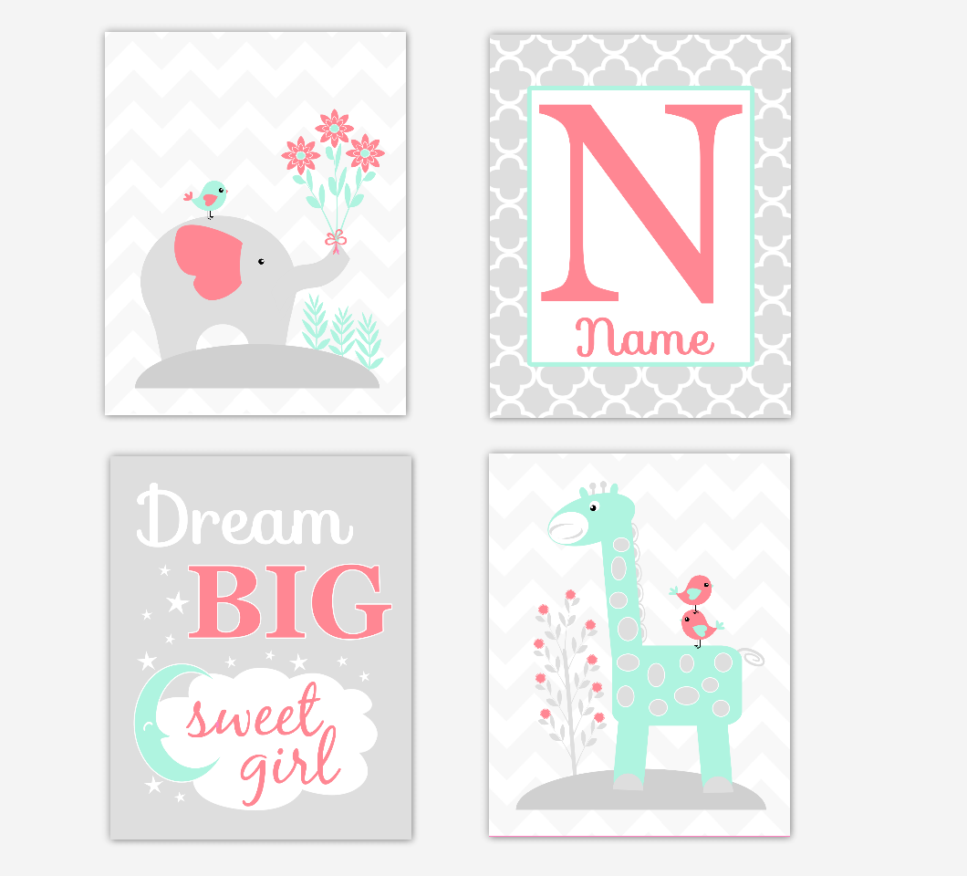 Coral Mint Green Baby Girl Nursery Art Elephant Giraffe Safari Jungle Animals Dream Big Sweet Girl Personalized Name Print Baby Nursery Decor SET OF 4 UNFRAMED PRINTS