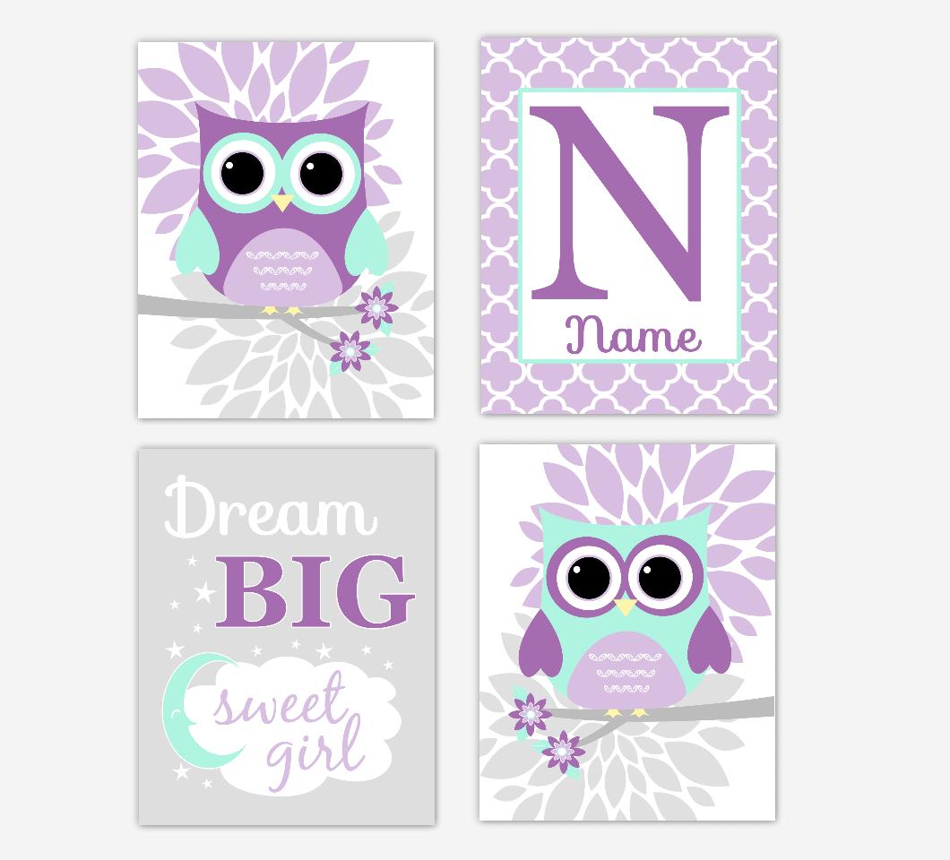 Purple Mint Green Baby Girl Nursery Wall Art Owls Mum Dahlia Flowers Personalized Name Dream Big Baby Nursery Decor SET OF 4 UNFRAMED PRINTS