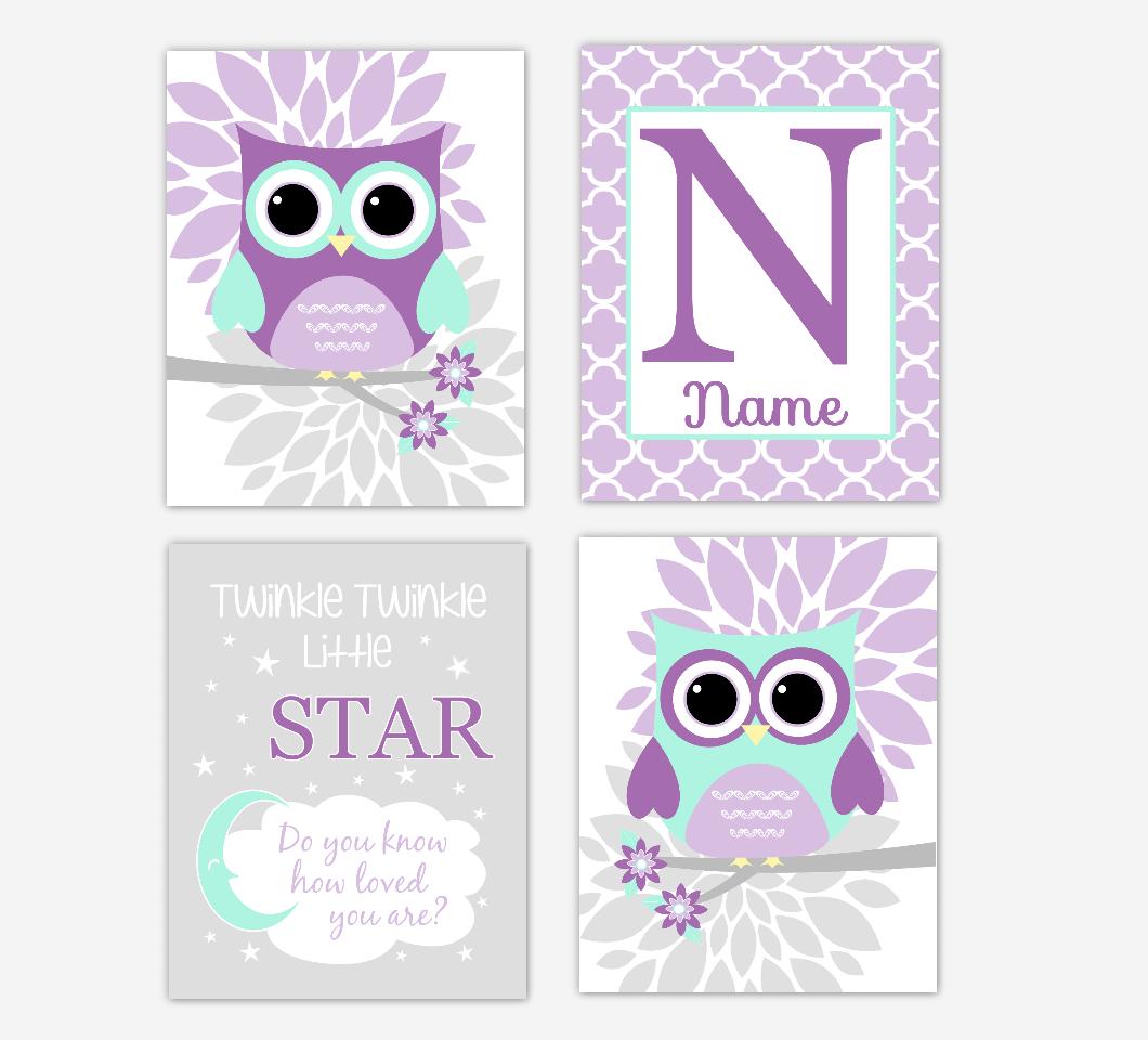 Purple Mint Green Baby Girl Nursery Wall Art Owls Mum Dahlia Flowers Personalized Name Twinkle Little Star Baby Nursery Decor SET OF 4 UNFRAMED PRINTS