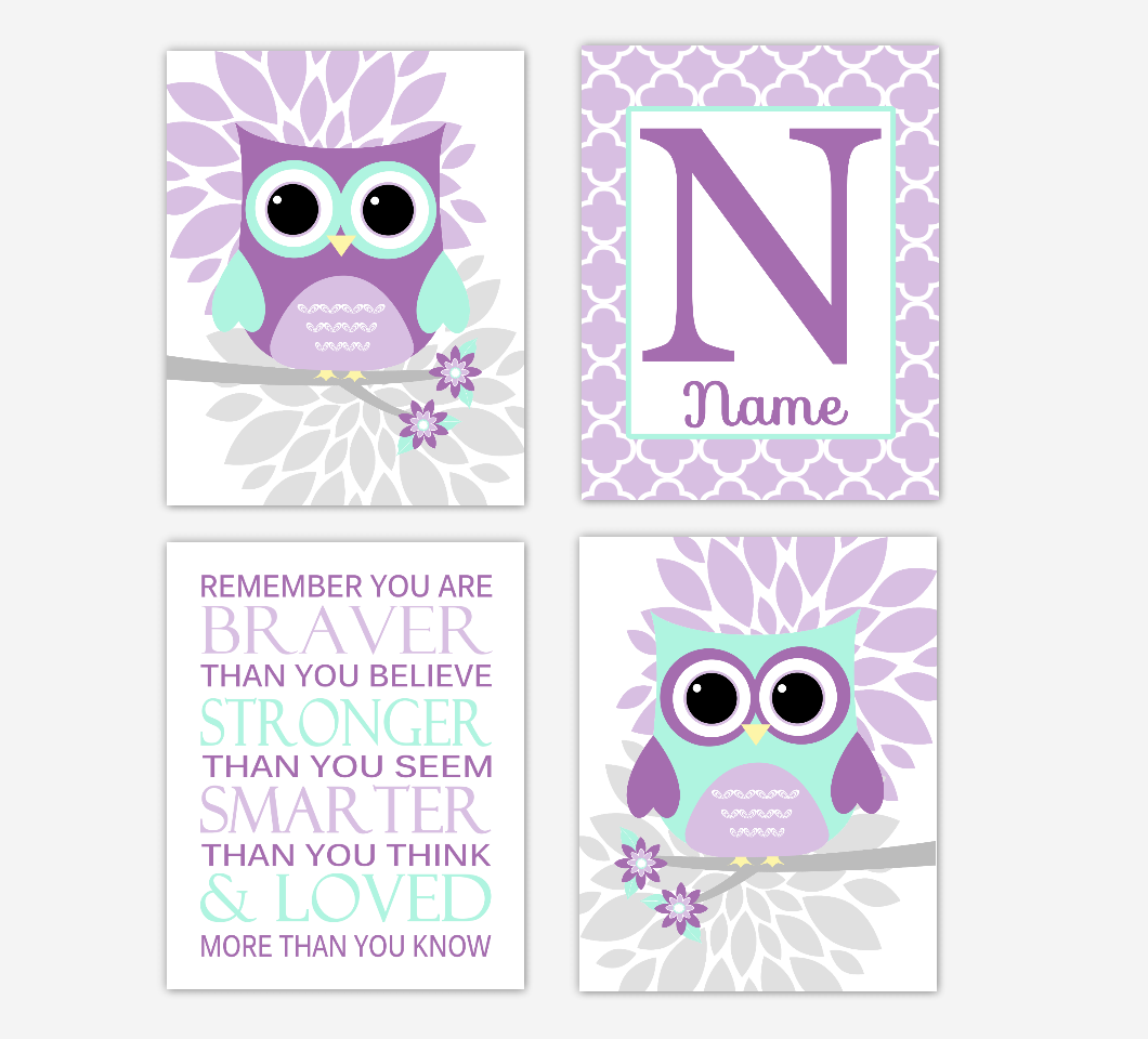 Purple Mint Green Baby Girl Nursery Wall Art Owls Mum Dahlia Flowers Personalized Name Remember You Are Braver Baby Nursery Decor SET OF 4 UNFRAMED PRINTS