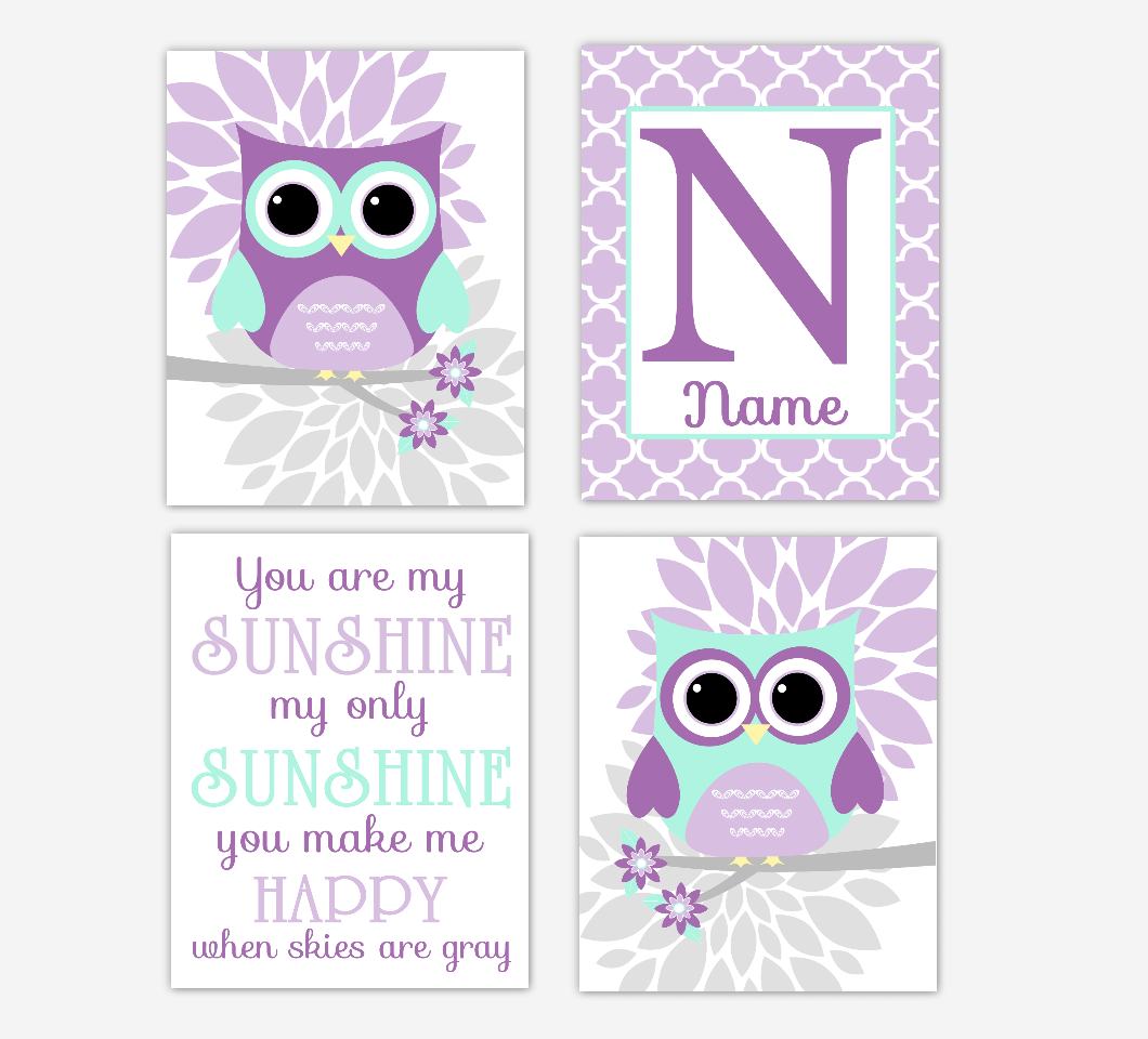 Purple Mint Green Baby Girl Nursery Wall Art Owls Mum Dahlia Flowers Personalized Name You Are My Sunshine Baby Nursery Decor SET OF 4 UNFRAMED PRINTS