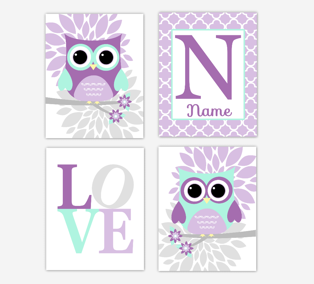 Purple Mint Green Baby Girl Nursery Wall Art Owls Mum Dahlia Flowers Personalized Name LOVE Baby Nursery Decor SET OF 4 UNFRAMED PRINTS