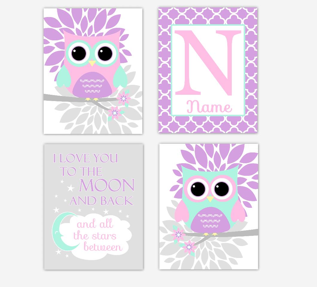 Pink Baby Girl Nursery Wall Art Purple Mint Owls Mum Dahlia Flowers Personalized Name I Love You To The Moon Baby Nursery Decor SET OF 4 UNFRAMED PRINTS