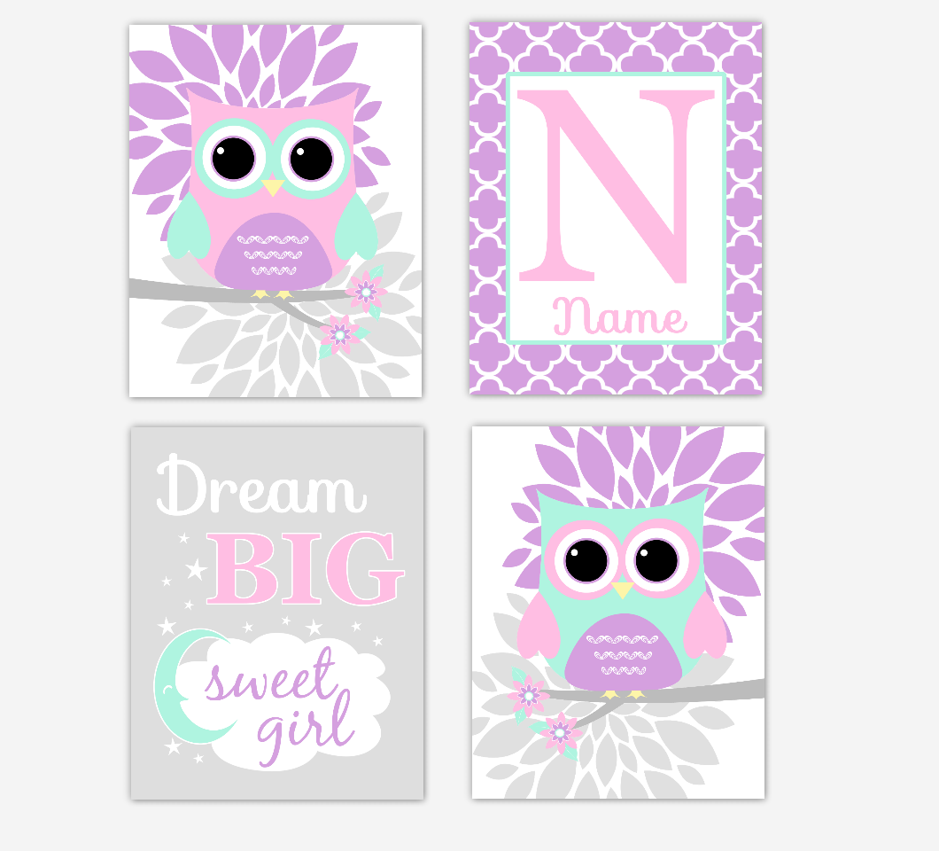 Pink Baby Girl Nursery Wall Art Purple Mint Owls Mum Dahlia Flowers Personalized Name Dream Big Baby Nursery Decor SET OF 4 UNFRAMED PRINTS