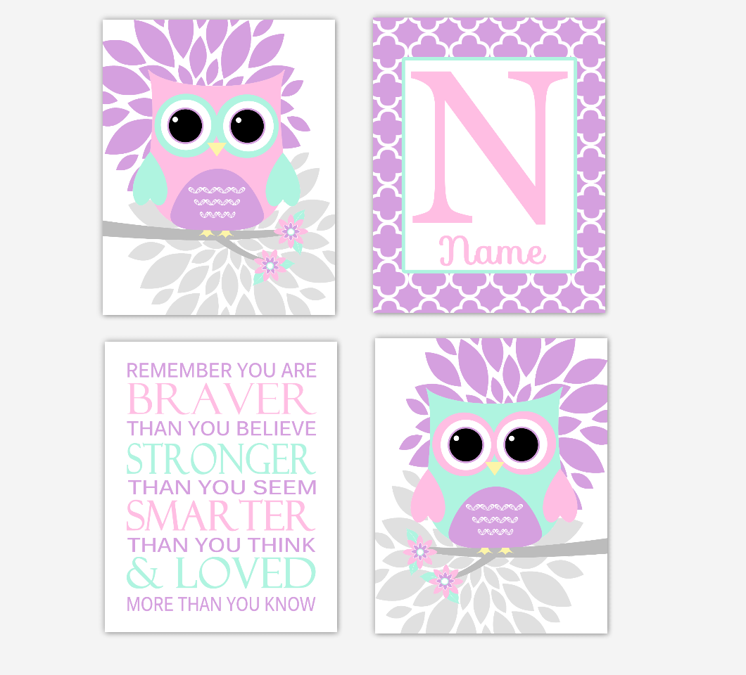 Pink Baby Girl Nursery Wall Art Purple Mint Owls Mum Dahlia Flowers Personalized Name Remember You Are Braver Baby Nursery Decor SET OF 4 UNFRAMED PRINTS