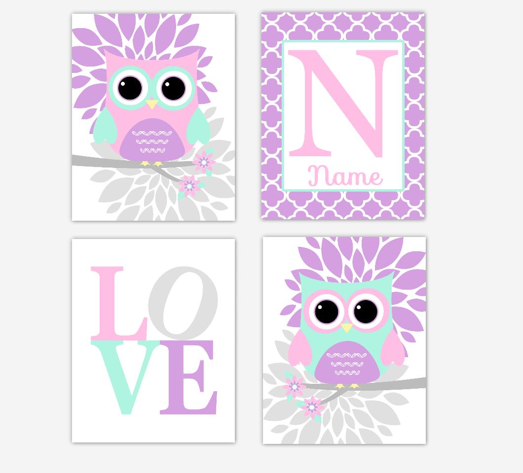 Pink Baby Girl Nursery Wall Art Purple Mint Owls Mum Dahlia Flowers Personalized Name LOVE Baby Nursery Decor SET OF 4 UNFRAMED PRINTS