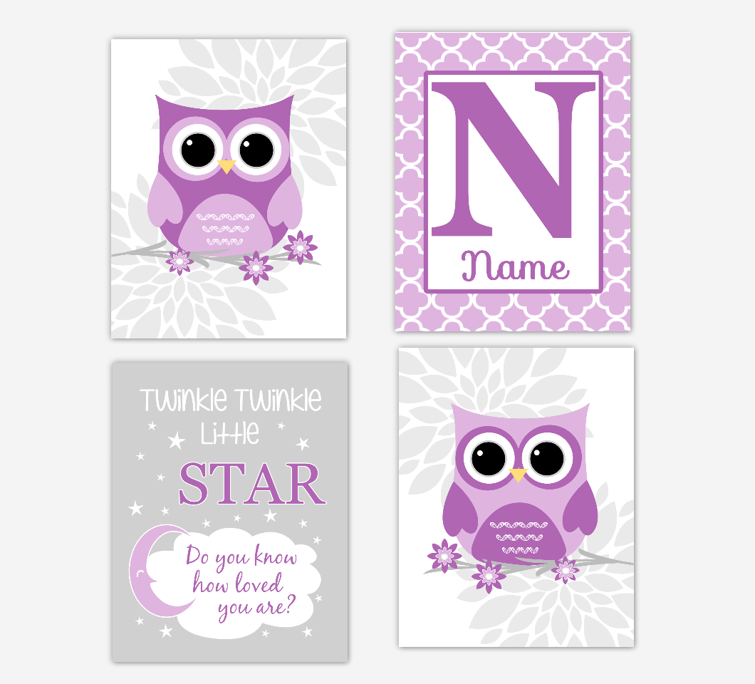 Purple Baby Girl Nursery Wall Art Owl Flowers Dahlia Mum Floral Baby Nursery Decor