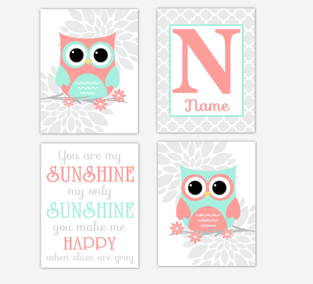 Coral Mint Baby Girl Nursery Art Owls Dahlia Mum Gray Flowers Baby Nursery Decor