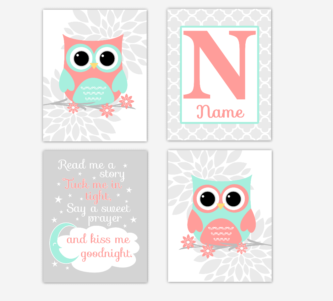Coral Mint Baby Girl Nursery Art Owls Dahlia Mum Gray Flowers Personalized Baby Nursery Decor