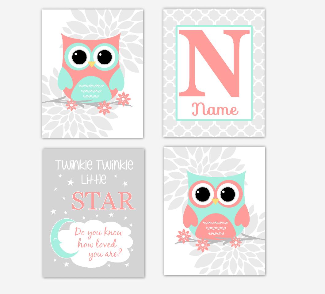 Coral Mint Baby Girl Nursery Art Owls Dahlia Mum Gray Flowers Personalized Baby Nursery Decor