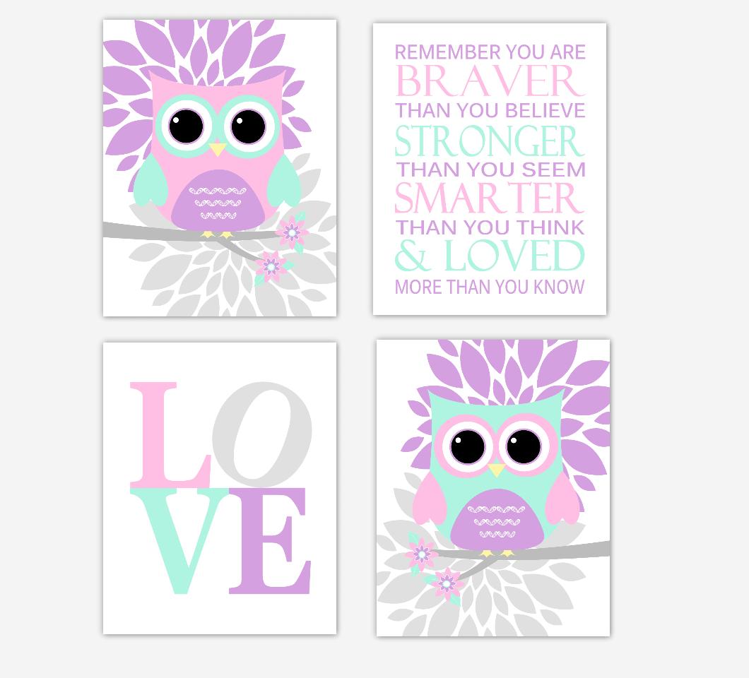 Pink Owls Baby Girl Nursery Wall Art Purple Gray Flowers Dahlia MumBaby Nursery Decor