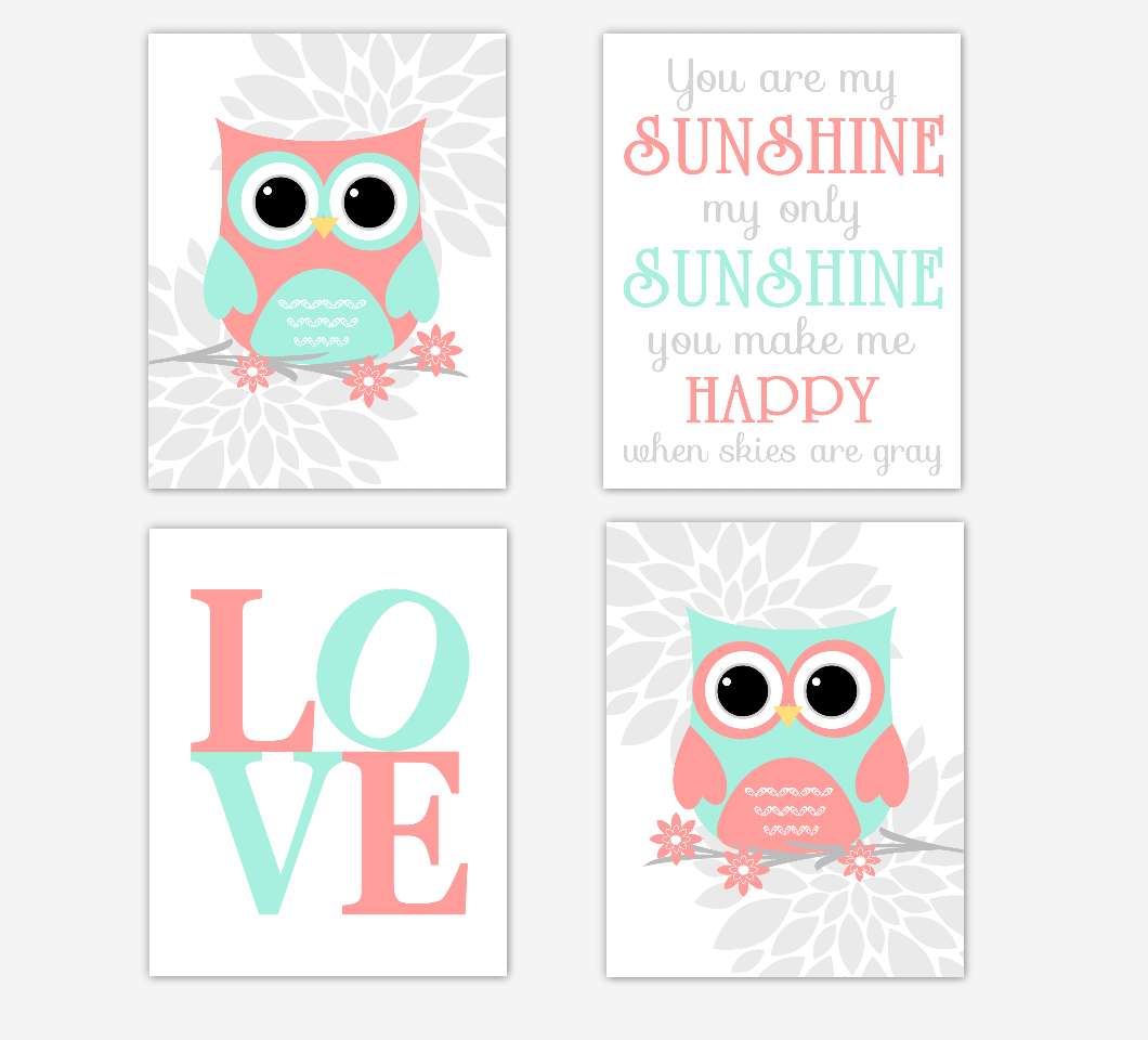 Coral Mint Baby Girl Nursery Wall Art Owls Gray Mum Dahlia Flowers Baby Nursery Decor