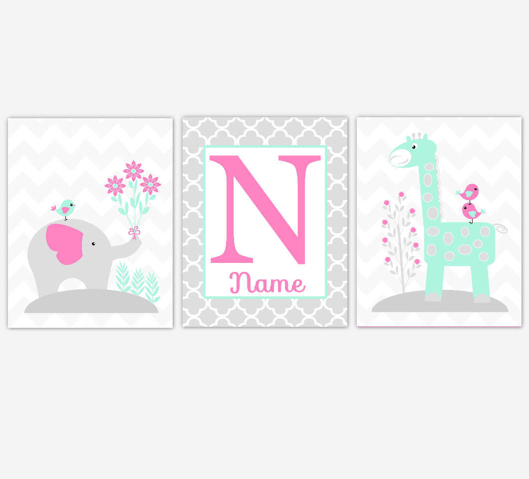 Pink Mint Baby Girl Nursery Wall Art Elephant Giraffe Jungle Safari Animals Personalized Baby Nursery Decor
