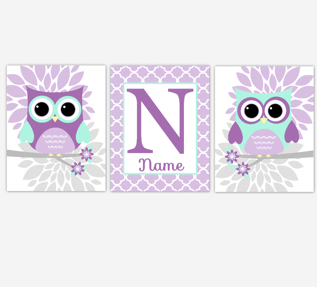 Purple Mint Baby Girl Nursery Wall Art Owls Dahlia Mum Flowers Personalized Baby Nursery Decor