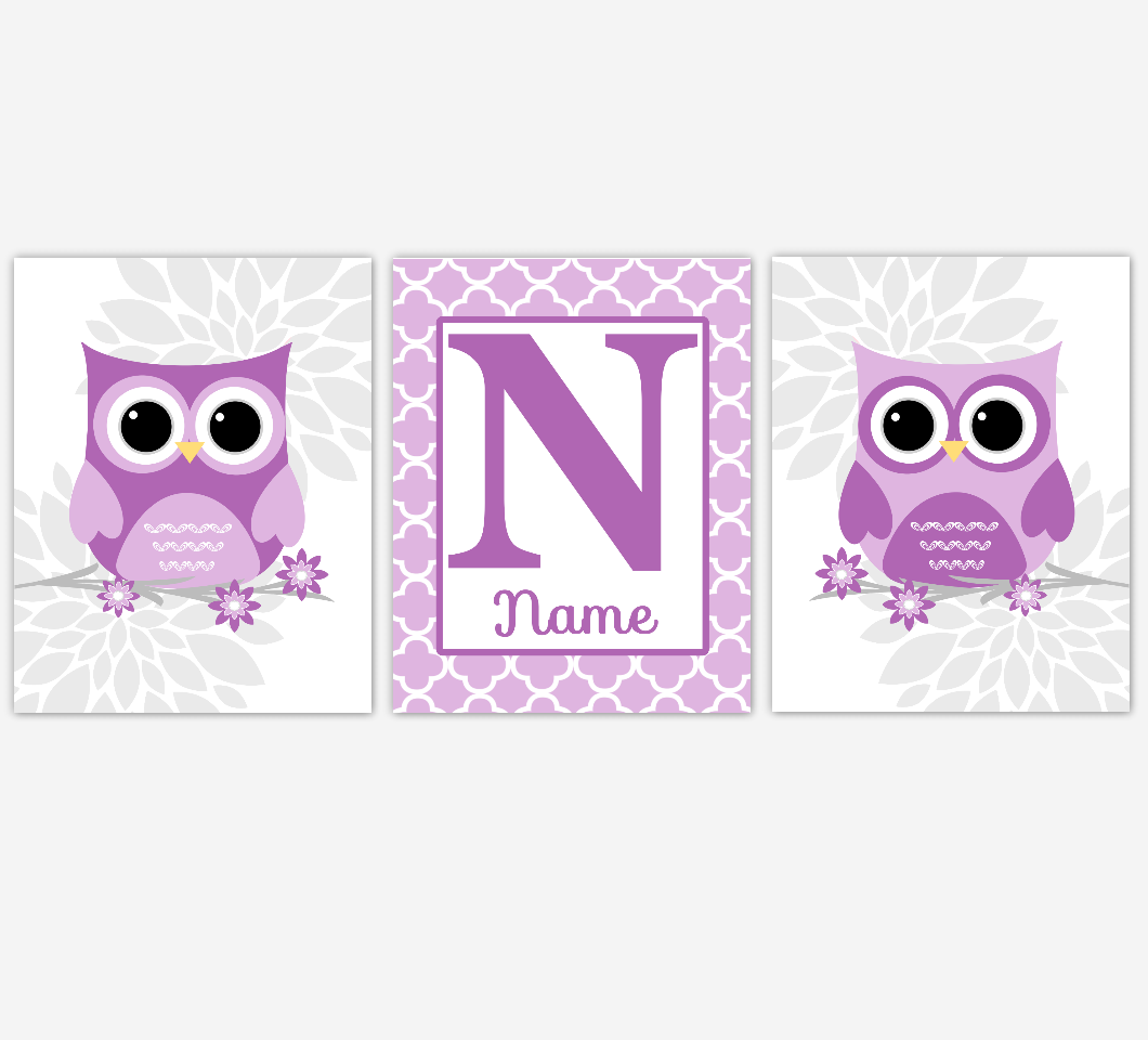 Purple Baby Girl Nursery Wall Art Owls Dahlia Mum Flowers Personalized Baby Nursery Decor