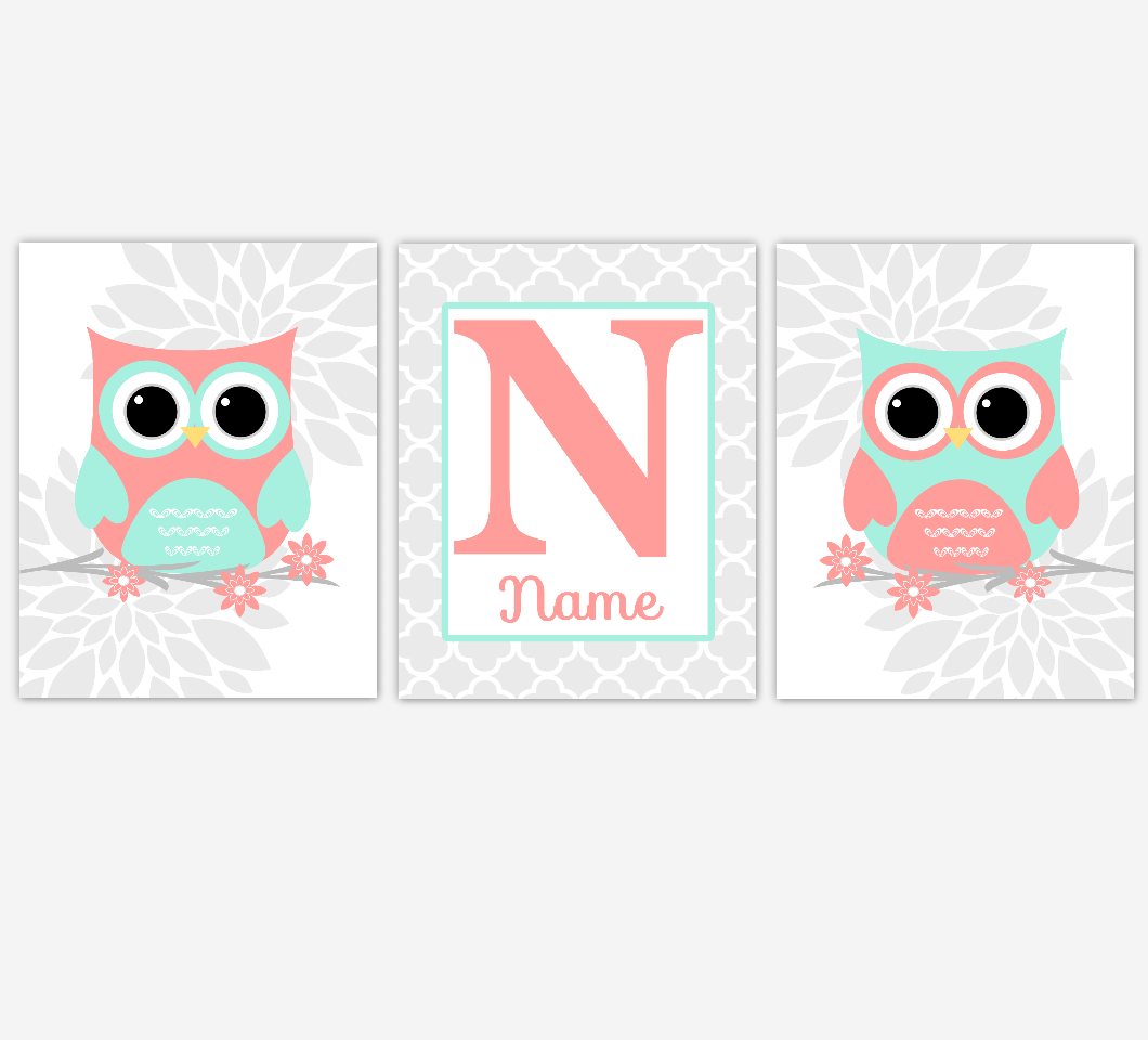 Coral Mint Baby Girl Nursery Wall Art Owls Dahlia Mum Flowers Personalized Print Baby Nursery Decor