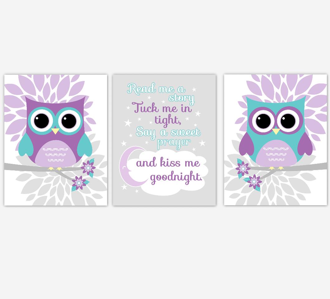 Purple Teal Owl Baby Nursery Wall Art Dahlia Mum Flower Baby Nursery Decor