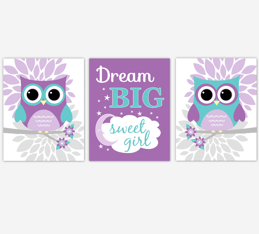 Purple Teal Owl Baby Nursery Wall Art Dahlia Mum Flower Baby Nursery Decor