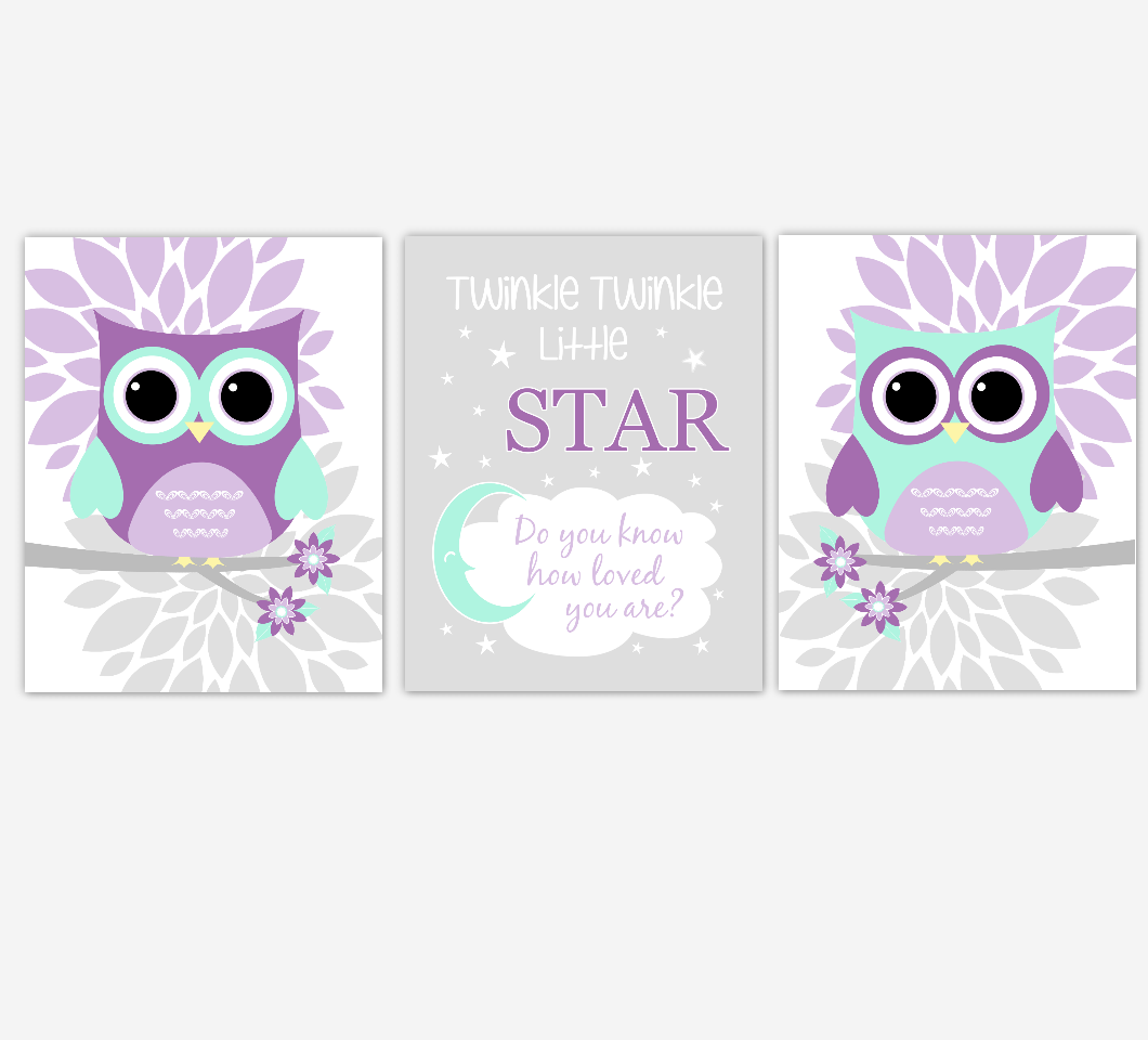 Owls Baby Girl Nursery Wall Art Baby Owl Pictures Pink Purple Mint Dahlia Mum Flowers Baby Nursery Decor