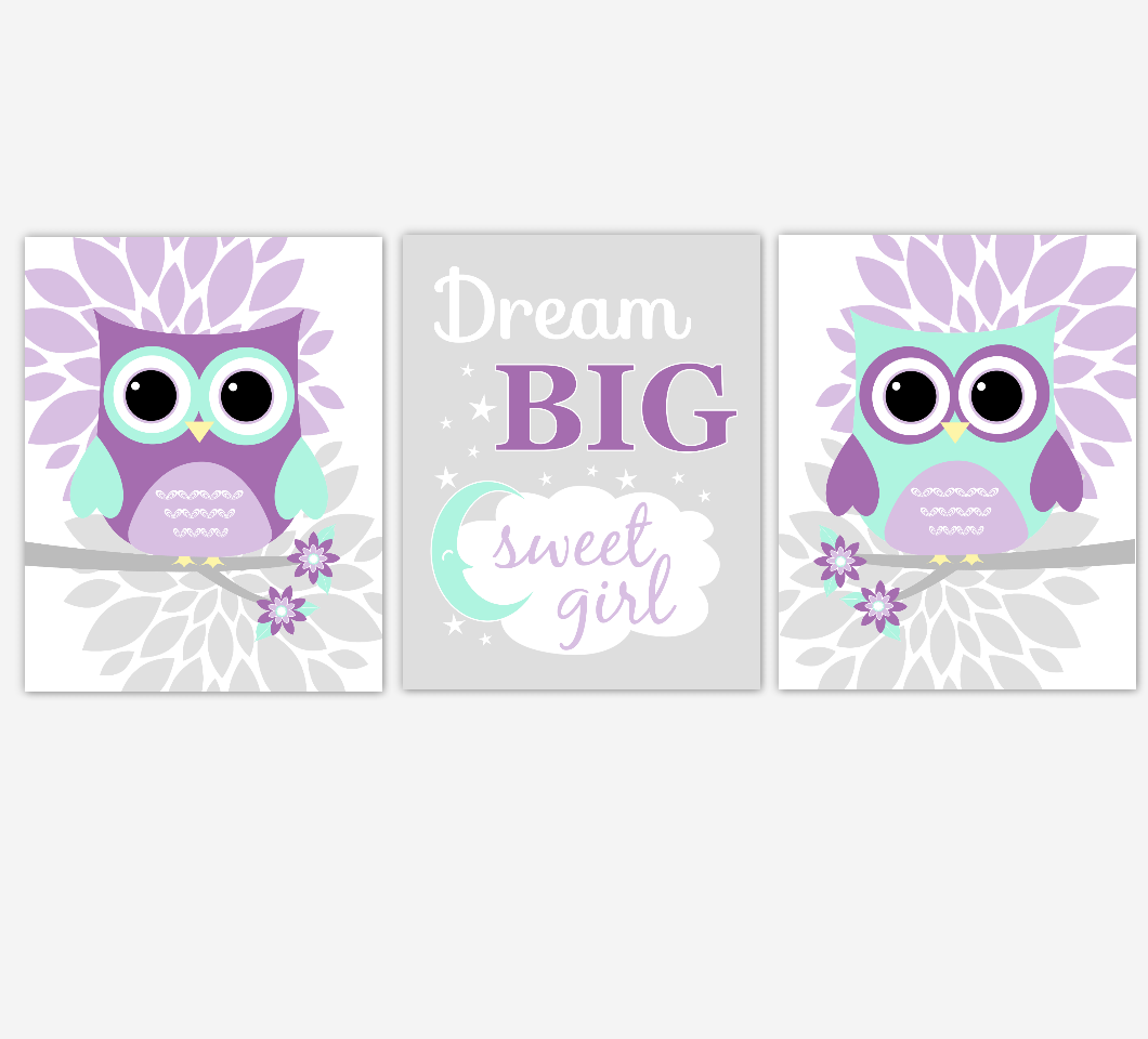 Owls Baby Girl Nursery Wall Art Baby Owl Pictures Purple Pink MInt Dahlia Mum Flowers Baby Nursery Decor