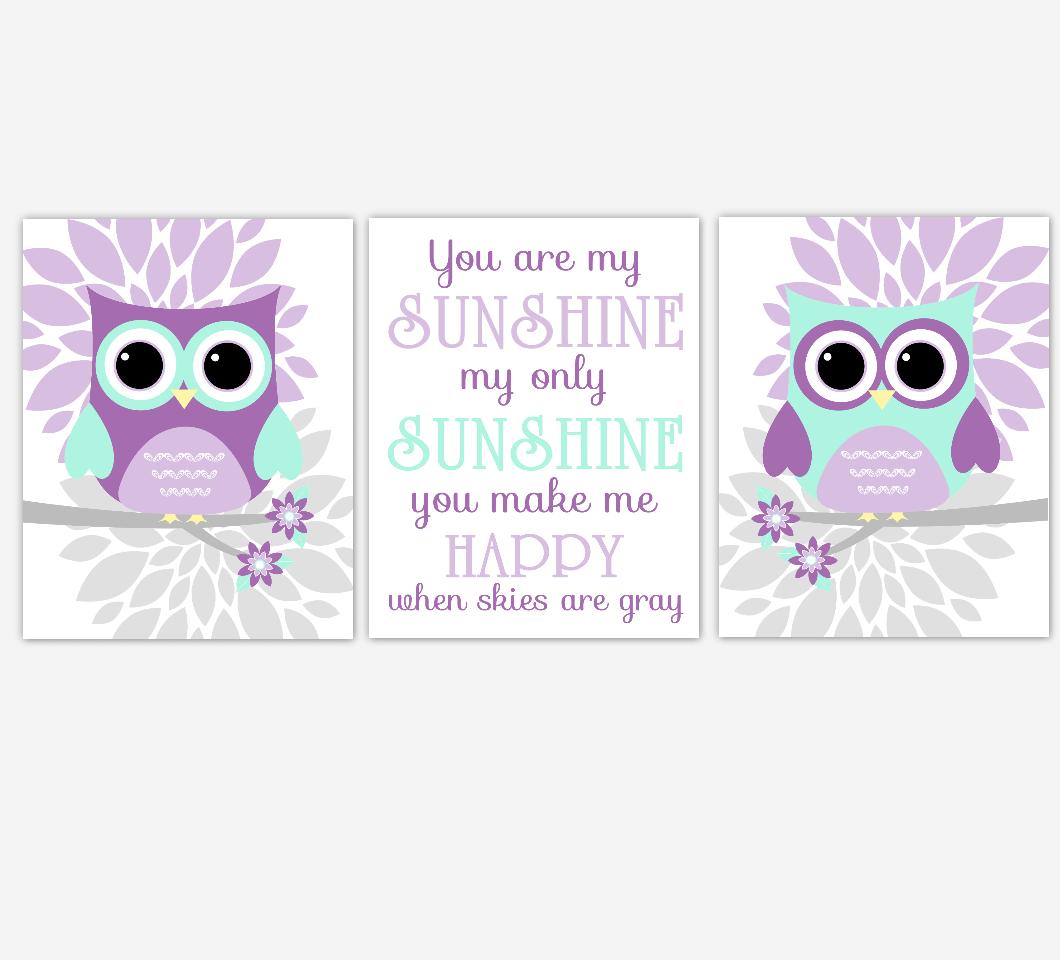 Owl Baby Girl Nursery Wall Art Baby Owl Pictures Purple Mint Dahlia Mum Flowers Baby Nursery Decor