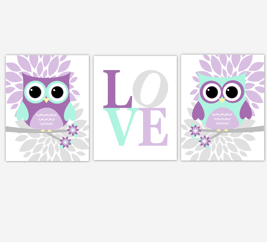 Owl Baby Girl Nursery Wall Art Baby Owl Pictures Pink Purpe Mint Dahlia Mum Flowers Baby Nursery Decor