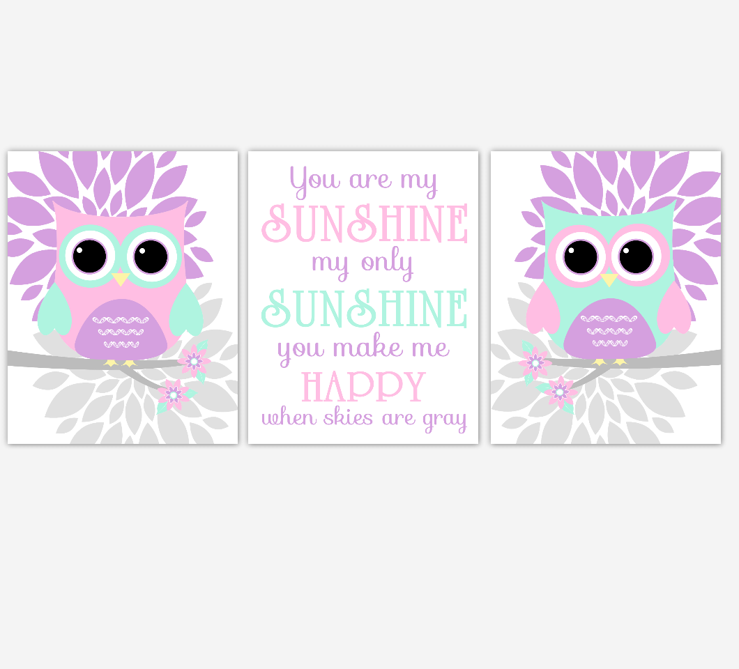 Owl Baby Girl Nursery Wall Art Baby Owl Pictures Pink Mint Dahlia Mum Flowers You Are My Sunshine Baby Nursery Decor