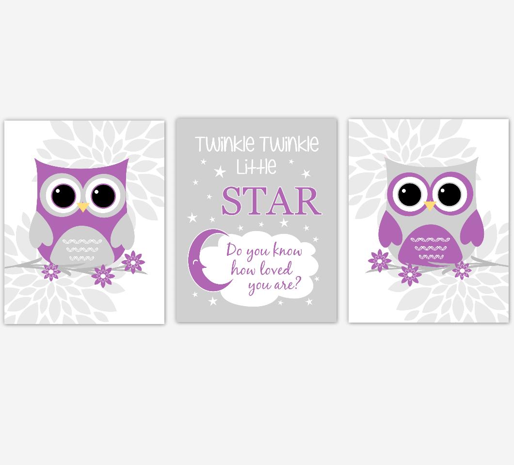 Purple Gray Baby Nursery Wall Art Owl Dahlia Mum Flowers Baby Nursery Decor