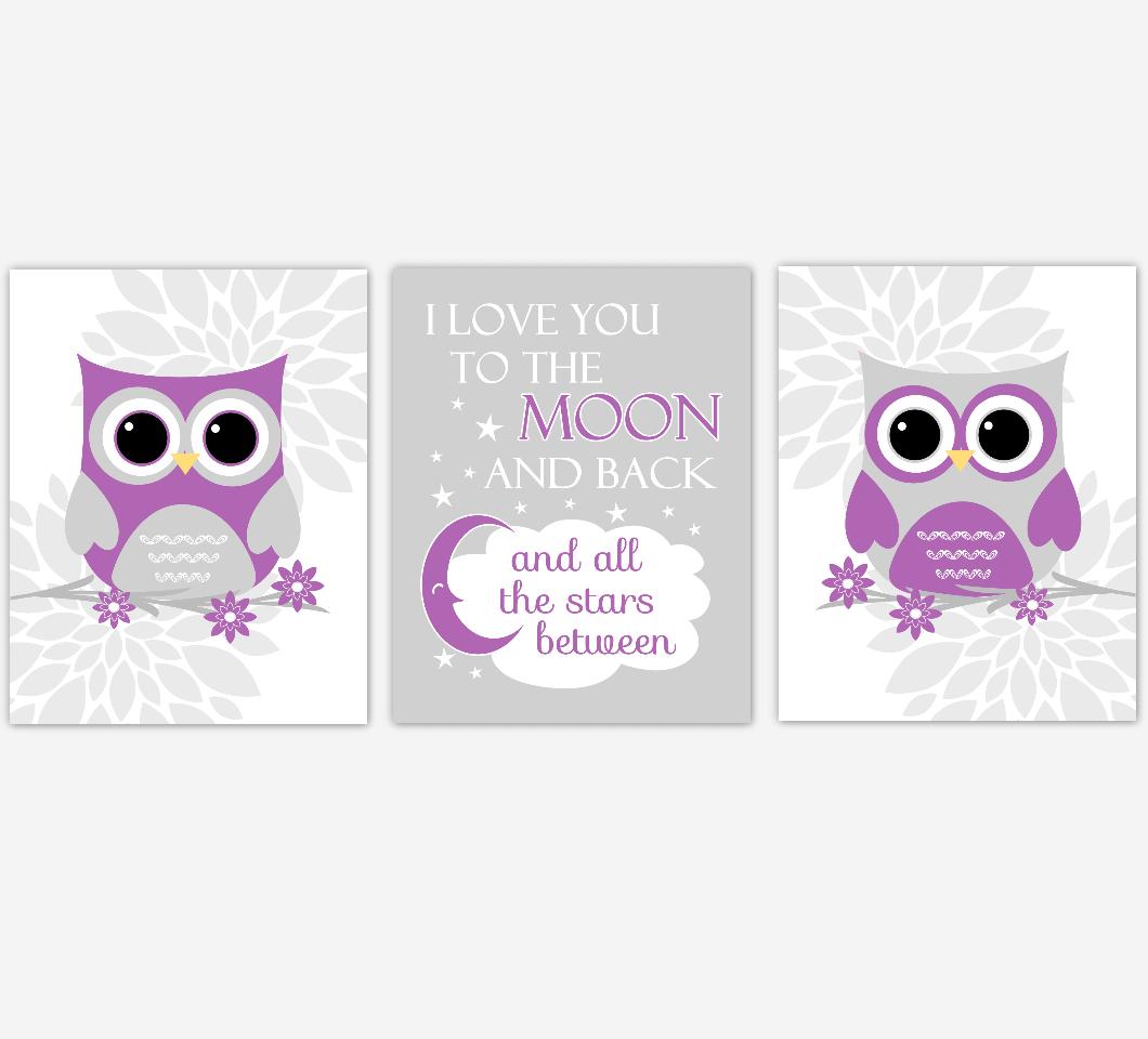 Purple Gray Baby Nursery Wall Art Owl Dahlia Mum Flowers I Love You To The Moon Baby Nursery Decor