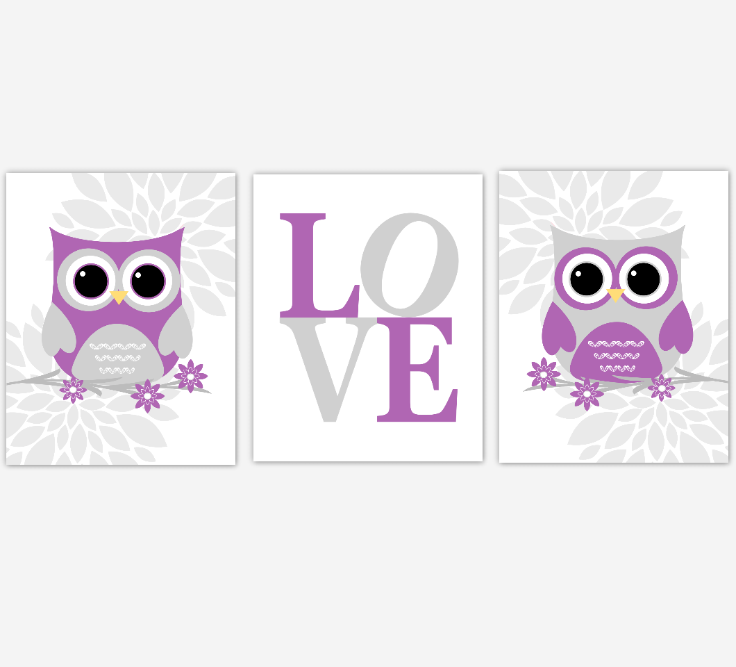 Purple Baby Girl Nursery Wall Art Owl Dahlia Mum Flowers LOVE Baby Nursery Decor