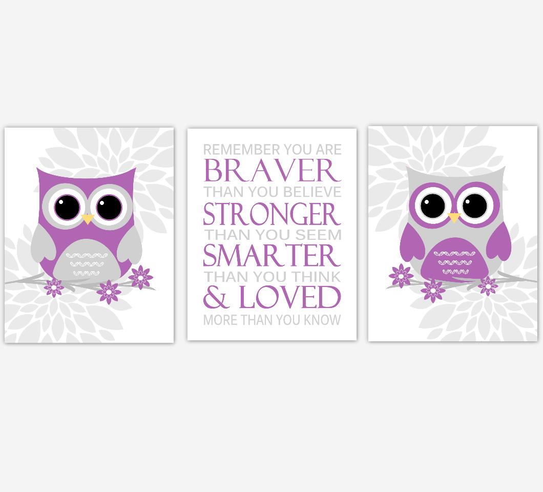 Purple Gray Baby Girl Nursery Wall Art Owl Dahlia Mum Flowers Remember You Are Braver Baby Nursery Decor