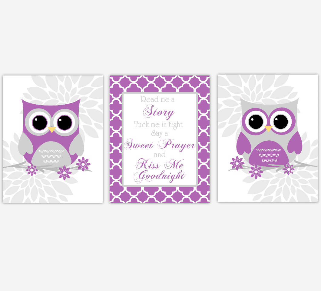 Purple Gray Baby Girl Nursery Wall Art Owl Dahlia Mum Flowers Read Me A Story Baby Nursery Decor