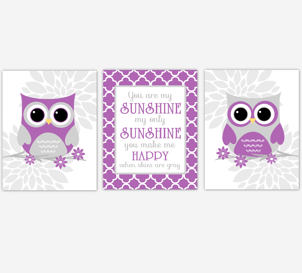 Purple Gray Baby Girl Nursery Wall Art Owl Dahlia Mum Flowers You Are My Sunshine Baby Nursery Decor