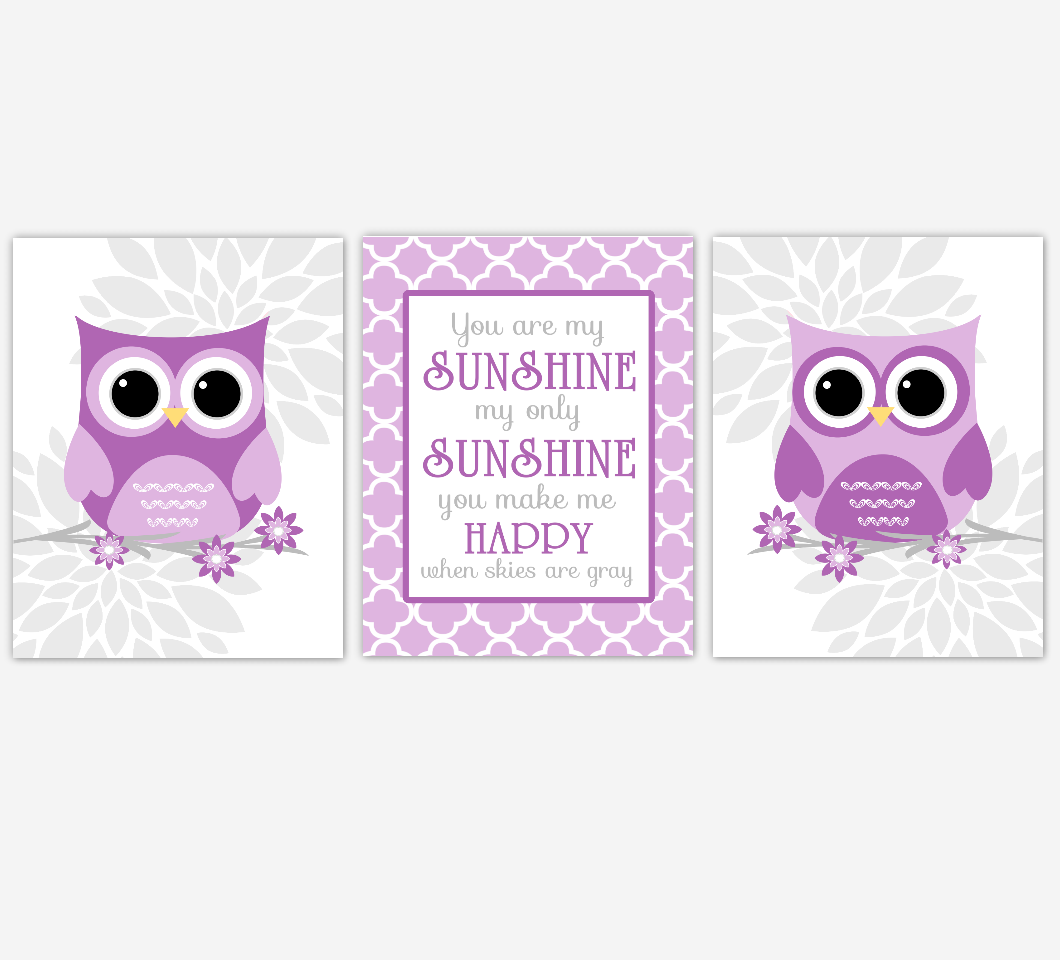 Purple Baby Girl Nursery Wall Art Owl Dahlia Mum Flowers You Are My Sunshine Baby Nursery Decor