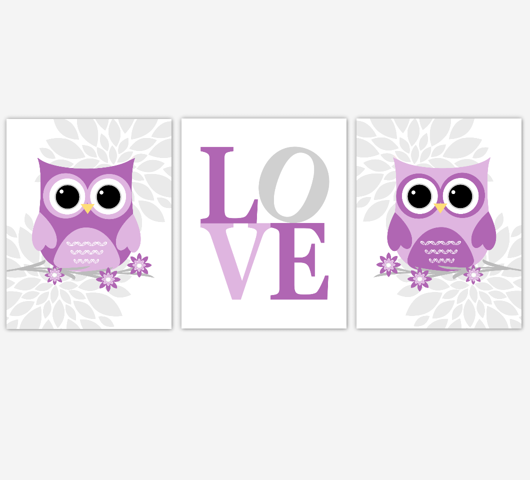 Purple Baby Girl Nursery Wall Art Owl Dahlia Mum Flowers LOVE Baby Nursery Decor