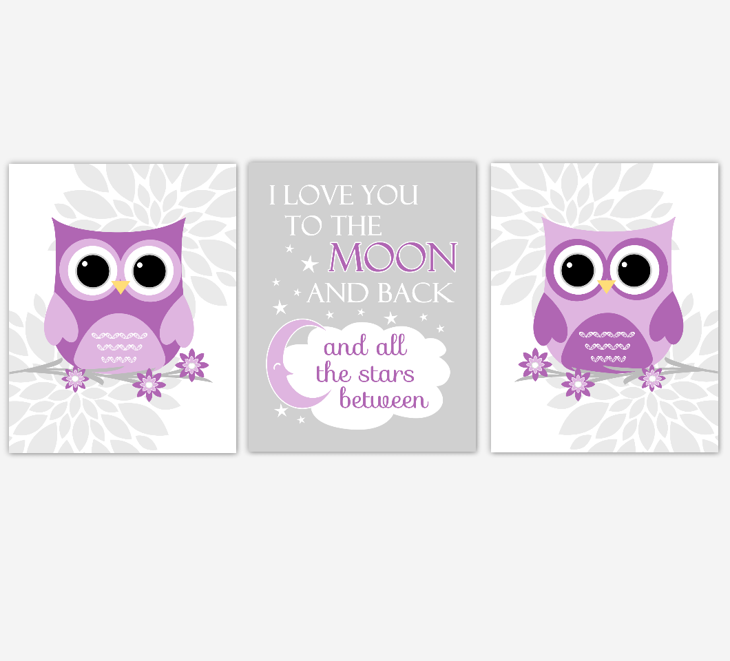 Purple Baby Girl Nursery Wall Art Owl Dahlia Mum Flowers I Love You To The Moon Baby Nursery Decor